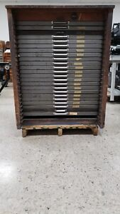 Vintage Hamilton Letterpress Type Cabinet With 24 Drawers empty