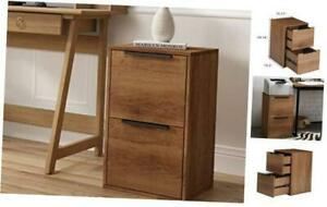 2 Drawer Wooden File Cabinet Vertical Storage Filing Cabinet With Brown