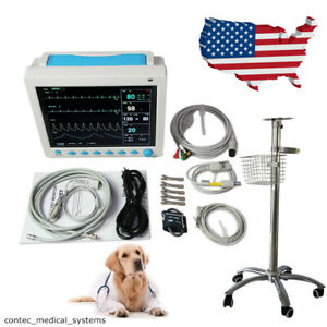 Cms8000 Veterinary Patient Monitor Vital Signs Vet Icu Monitor 12 1 With Stand
