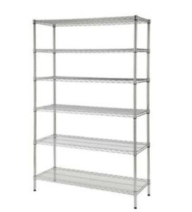 Chrome 6 tier Heavy Duty Metal Wire Shelving Unit For Storage Containers Boxes