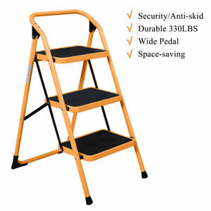 3 Steps Ladder Folding Non Slip Safety Tread Industrial Home Use 330lbs Load Us