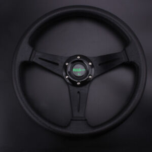 6 Hole 13in 340mm Black Steering Wheel Sport Racing Deep Dish With Horn Button