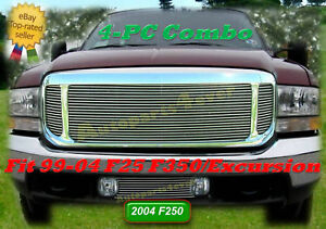 99 03 2004 2003 2002 2001 2000 1999 Ford F 250 Excursion Billet Grille Comb 4pc