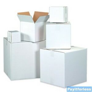 4 X 4 X 4 White Shipping Corrugated Storage Mailing Postal Boxes 25 Pc
