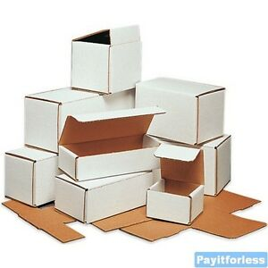 4 X 4 X 4 White Lightweight Light Corrugated Mailer Mailing Boxes 50 Pc