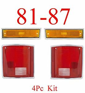 81 87 Chevy 4pc Front Side Ambers Tail Light Set Gmc Truck 88 91 Dually