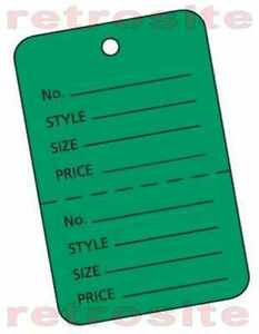 200 Small Price Coupon Hang Tags Without Strings Green 2part Perforated Unstrung