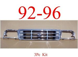 92 96 98 Ford Truck Bronco 3pc Chrome Grill Head Light Door Kit F150 F250 F350