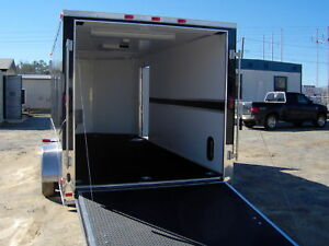 16 Enclosed Motorcycle Cargo Trailer A c Unit E Track Finished Led Tail Lights