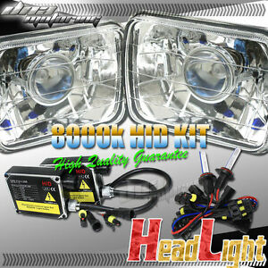 H4 8000k Hid H6014 H6054 Conversion Halo Projector Chrome Square Headlight Kit