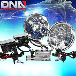 H4 8000k Hid H6017 H6024 Conversion Round Crystal Projector Chrome Headlight Kit