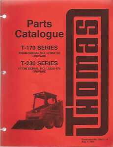 Thomas T 170 T 230 Skidsteer Loader Parts Manual
