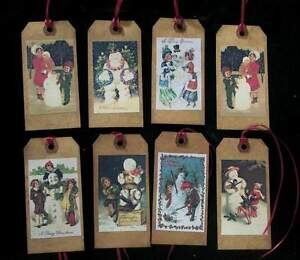Primitive Vintage Snowmen Christmas Hang Tags With Burgundy Ribbon Scented