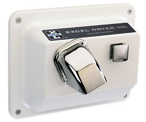 Excel R76 w 110 120v Hands On Semi recessed White Hand Dryer Metal Cover