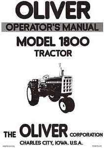 Oliver 1800 1800a Gas Lp And Diesel Row Crop Std Ind Tractors Operators Manual