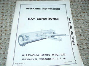Allis Chalmers Hay Conditioner Operator s Manual