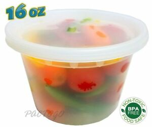 240 Sets 16 Oz Clear Plastic Soup food Containers W lids Combo microwaveable