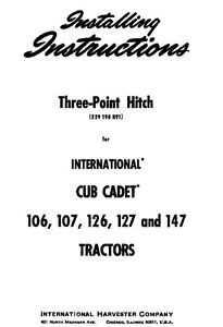 Cub Cadet 3 Three Point Hitch For 106 107 126 127 And 147 Installation Manual