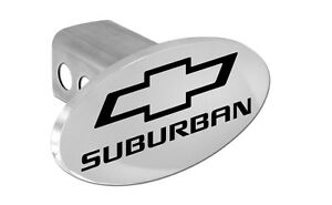 Chevy Suburban Trailer Hitch Cover Plug With Black Chevrolet Bowtie