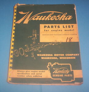 Parts Manual For Model 6wakc Waukesha Engine