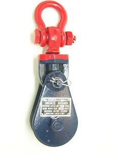 2 Ton Snatch Block With Swivel Shackle 3 Sheave 3 8 Cable Blue Or Green