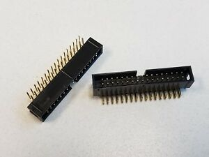 100 34 Position Gold Pins Right Angle Box Header Connector Shrouded Ca34hlr2 1a