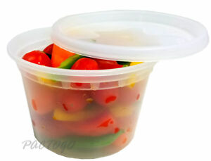 16 Oz Clear Plastic Soup food Disposable Containers W lids Microwaveable 96 pk