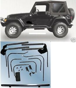 Black Complete Soft Top W hardware Tinted Windows 1997 2006 For Jeep Wrangler Tj