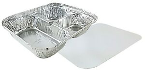 3 compartment Oblong Aluminum Foil Take out Container W board Lid Pans 250 Sets