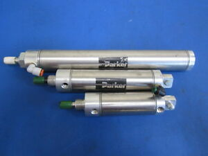 Lot Of 3 Parker Pneumatic Cylinders Hd254931 1 50dpsr04 0 2p26171