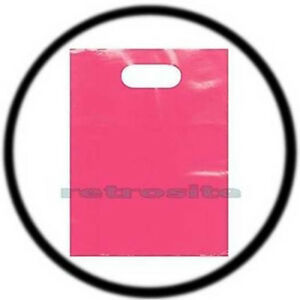 200 Count 12 X 15 Pink Low Density Glossy Merchandise Plastic Bags W Handles