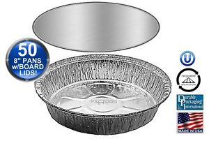 8 Round Aluminum Foil Take out Pan W board Lid 50 Pk Disposable Containers