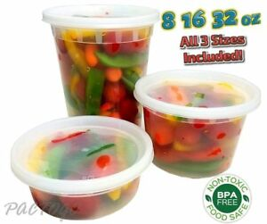 8 16 32 Oz Clear Plastic Soup food Containers W lids Combo 24 each 100 Bpa Free