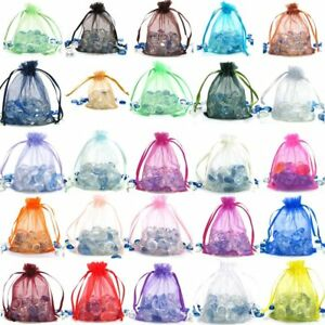 200 Large Mixed Organza Wedding Jewelry Pouches Drawstring Gift Bags 6x9