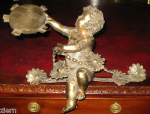 Gilt Bronze Child With Tambourine Engraved With Two Smoking Volcano 12 X 18