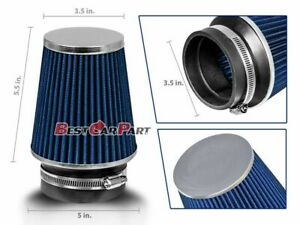 3 5 Inches 3 5 89 Mm Cold Air Intake Narrow Cone Filter Quality Blue Ford