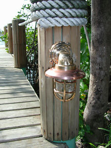 Medium 90 Degree Bronze Nautical Passageway Dock Light W Copper Hood Ship Light