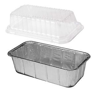 2 Lb Aluminum Foil Loaf Pan W Clear Dome Lid 25 pk disposable Bread Container
