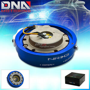 Nrg Thin Slim Version Steering Wheel Quick Release Blue Hub Kit Adapter 6 Hole
