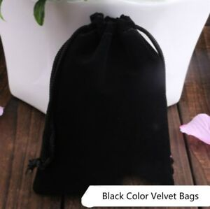 100 Black Velvet Drawstring Square Wedding Pouches Gift Favour Jewelry Bag 4 x5