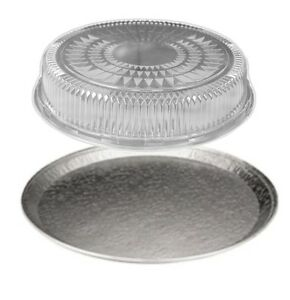 Handi foil 16 Round Flat Aluminum Catering Serving Tray clear Dome Lid 10 Sets