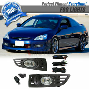 Fits 03 05 Honda Accord 2door Coupe Jdm Clear Lens Fog Lights Switch Rh Lh