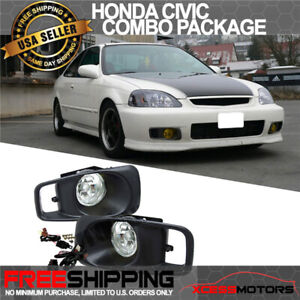 Fits 99 00 Honda Civic Ek Jdm Driving Fog Lights Switch Clear Lens Rh Lh