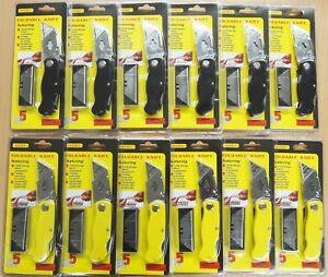 12pc Folding Lock back Utility Knife With 6 Blades Each