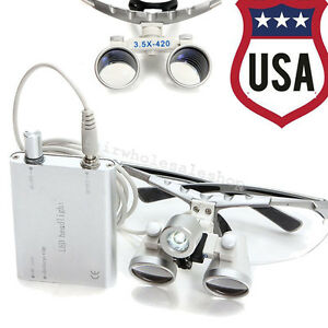 Usa Dental Led Light 3 5x 420mm Surgical Medical Binocular Loupes Loupe Flip up