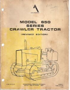 Allis Chalmers 650 Crawler Tractor Parts Manual