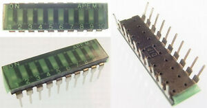 Apem Dir10st 10 position Recessed Ic Style Slide Dip Switch New Lot Quantity 18
