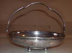 Vinatge 925 Hammered Sterling Silver Footed Basket Bowl Dish W Handle 170 Grams