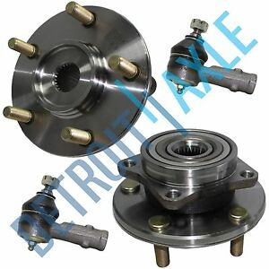 New Set 2 Front Wheel Hubs And Bearings 2 Outer Tie Rod Ends No Abs