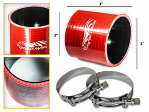 Red Silicone Coupler Hose 3 0 76 Mm T bolt Clamps Air Intake Intercooler Ch
